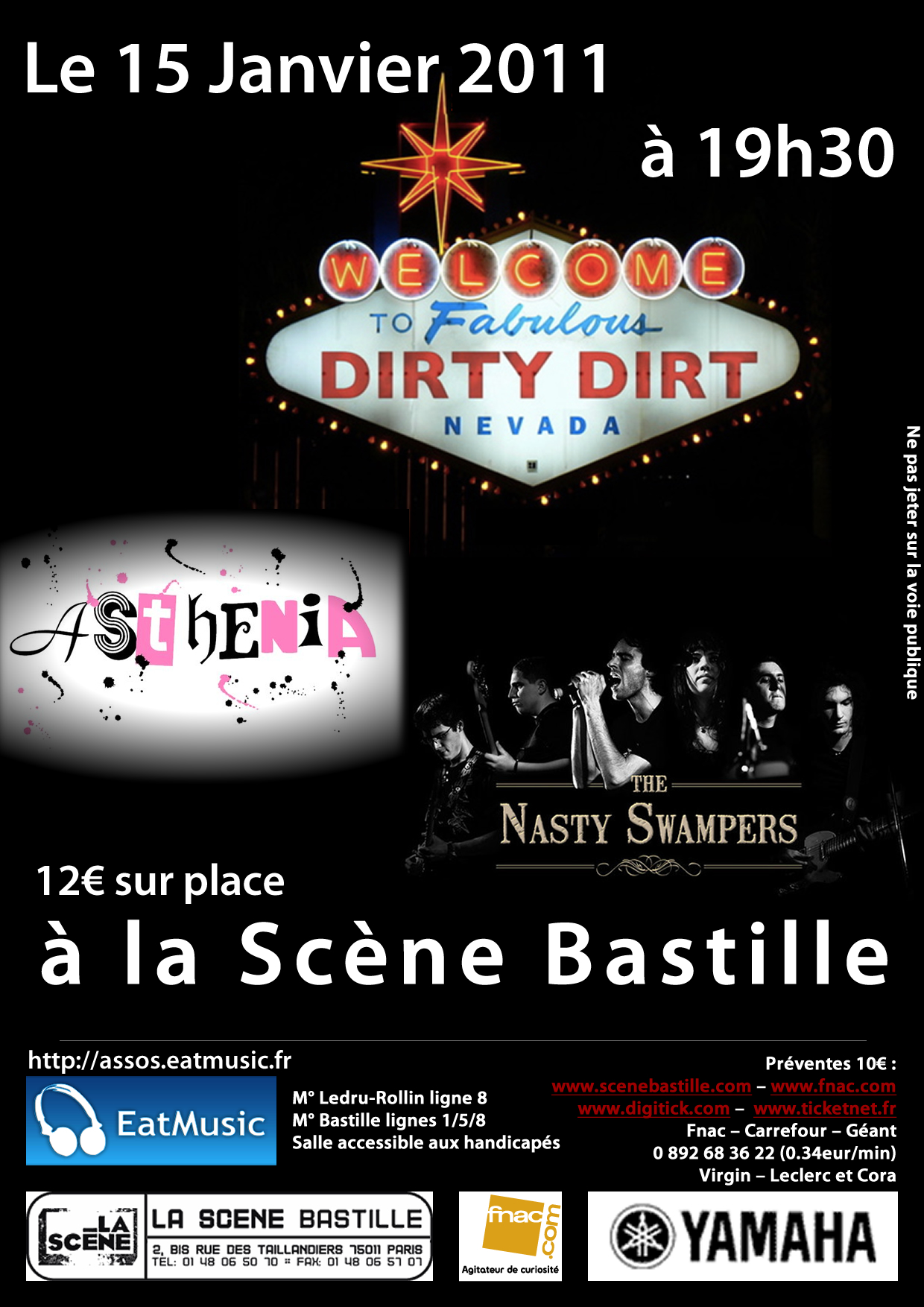 Concert des Dirty Dirt, Asthenia et The Nasty Swampers à la Scène Bastille