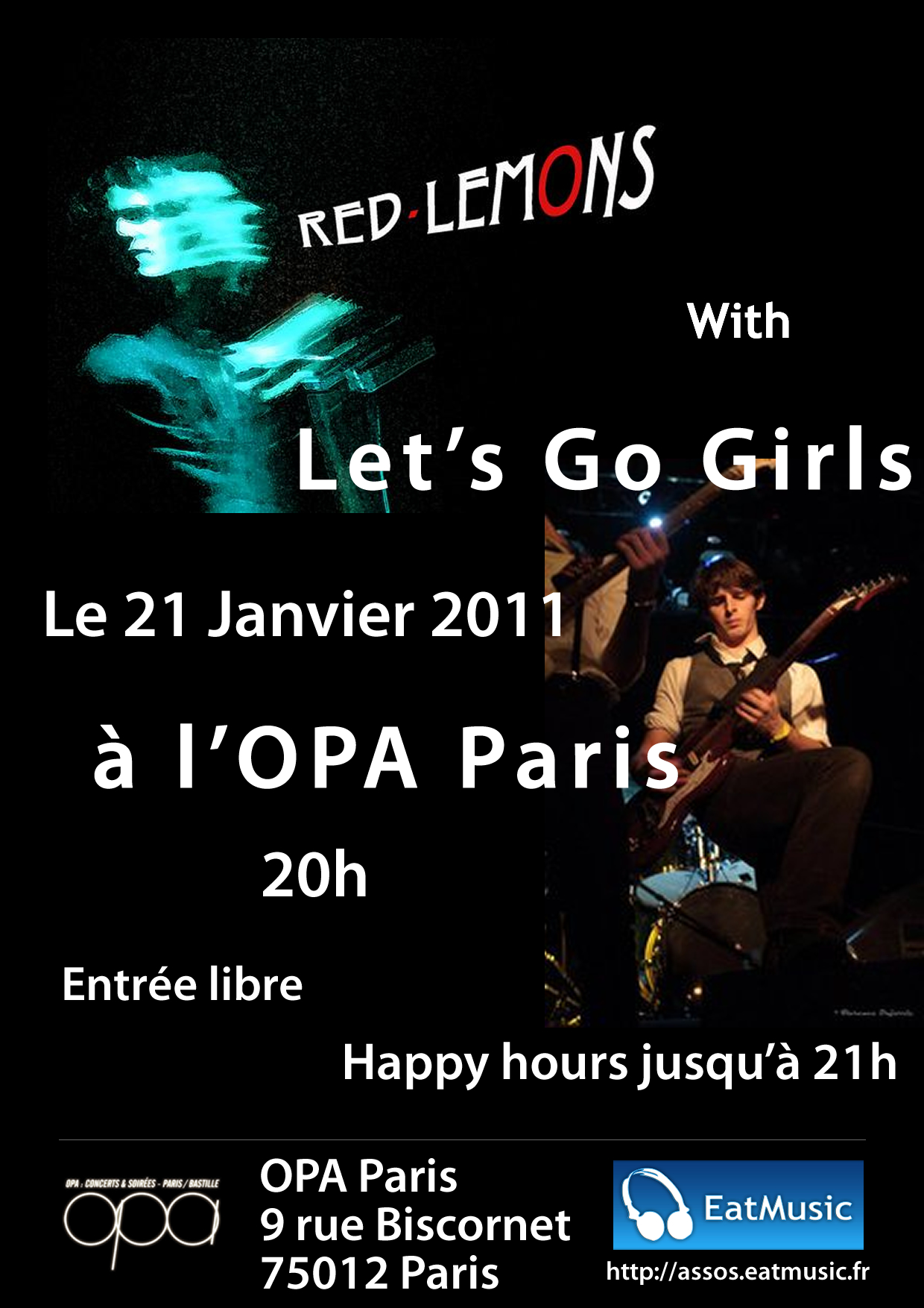 Concert des Red-Lemons, Let's Go Girls et The Offenders à l'OPA