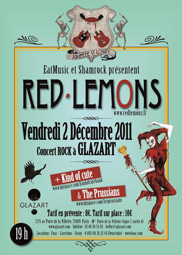 Soirée Rock au Glazart avec les Red-Lemons, Kind Of Cute et les Prussians